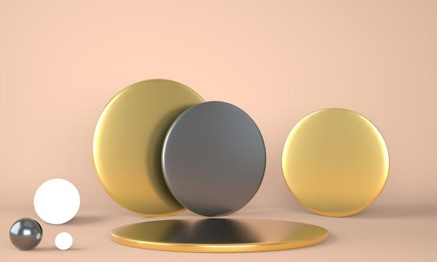 Podio del prodotto su sfondo pastello 3d. concetto astratto di geometria minima. tema della piattaforma dello stand da studio.