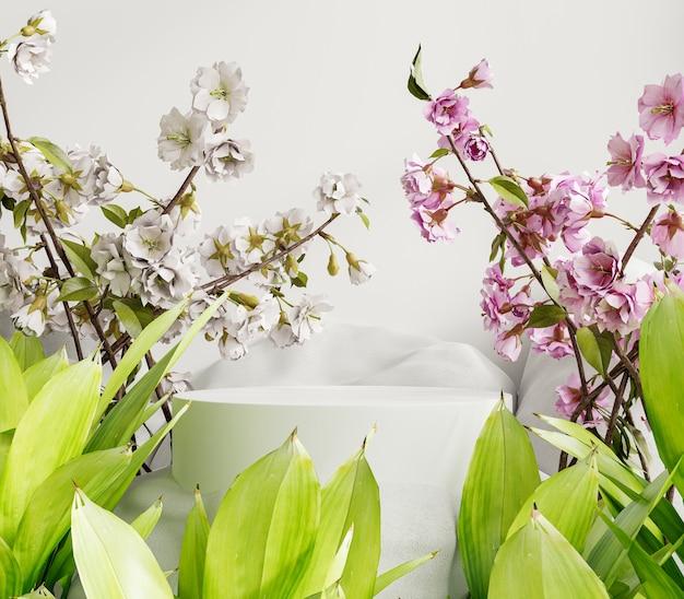 Podio di presentazione del prodotto dal design minimale con uno sfondo di colore bianco. rendering 3d