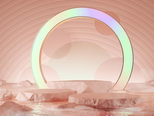 Prodotto vetrina colore rosa caral abtract concetto 3d rendering