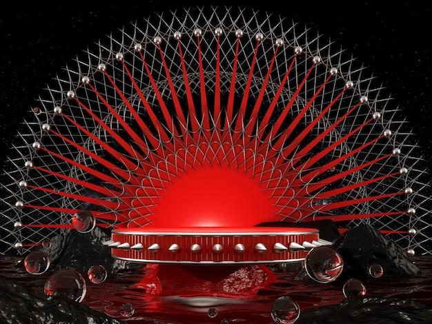 Vetrina prodotto rendering 3d concetto punkrock rosso