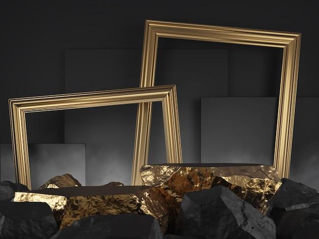 Pietra vetrina prodotto colore nero e oro abtract rendering 3dd