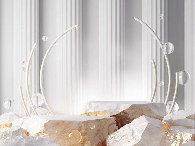 Prodotto vetrina rendering 3d di concetto di abtract di colore bianco e oro in pietra