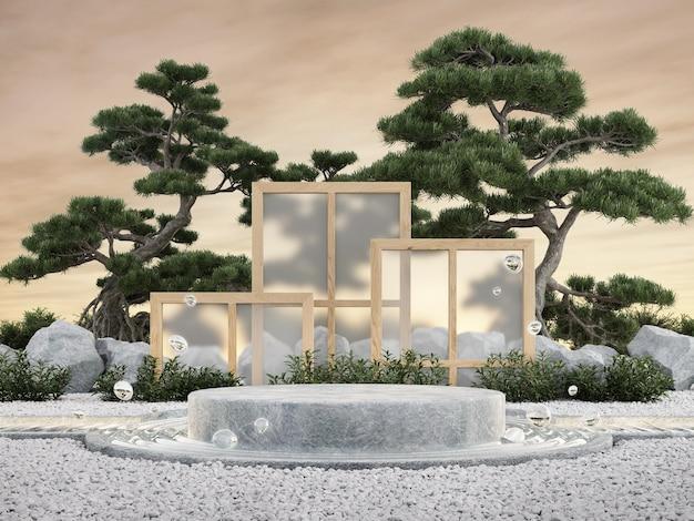 Vetrina del prodotto rendering 3d del concetto di giardino zen