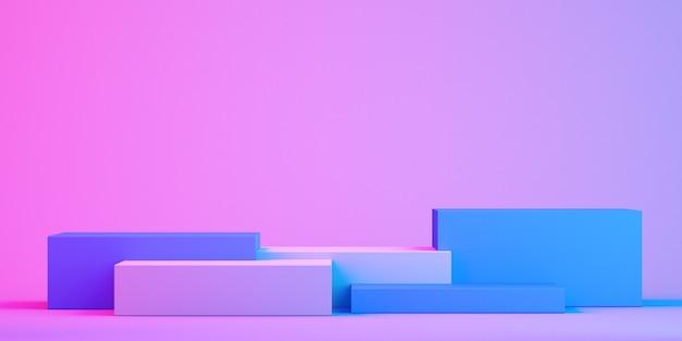 Stand prodotto 3d mock up per presentazione, sfondo colorato, rendering 3d
