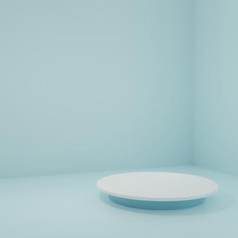 Supporto del prodotto nella stanza blu scena dello studio per il design minimale del prodotto rendering 3d