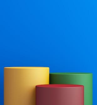 Stand del prodotto, mock up 3d colorato per la presentazione, sfondo colorato, rendering 3d