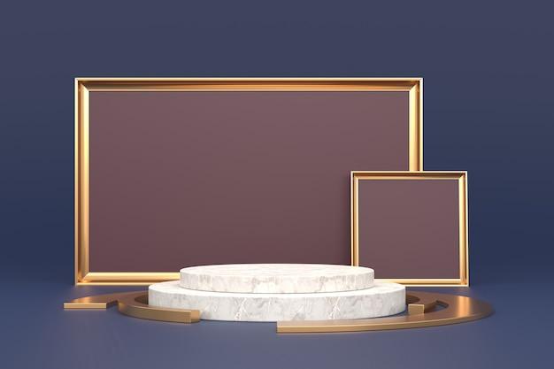 Design dello stand del prodotto con concetti di lusso. rendering 3d.