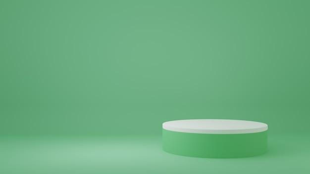 Stand del prodotto nella stanza verde scena dello studio per il design minimale del prodottorendering 3d