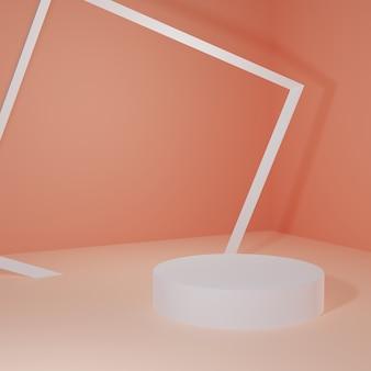 Stand del prodotto nella stanza arancione scena dello studio per il design minimale del prodottorendering 3d