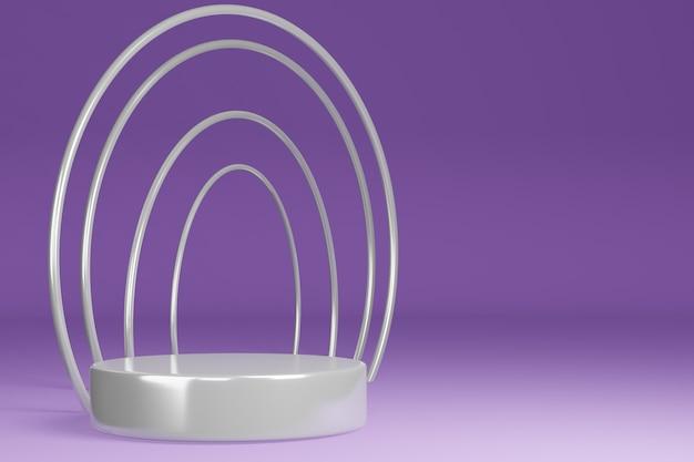 Supporto del prodotto, piedistallo, forma cilindrica, cornice circolare, anello viola e bianco, rendering 3d.