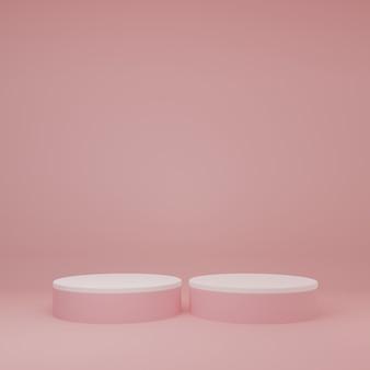 Stand del prodotto nella stanza rosa scena dello studio per il design minimale del prodottorendering 3d