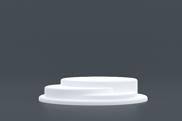 Stand del prodotto, podio minimo su sfondo grigio per la presentazione del prodotto cosmetico.