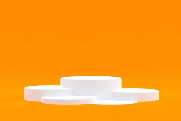 Stand del prodotto, podio minimo sull'arancia per la presentazione del prodotto cosmetico.