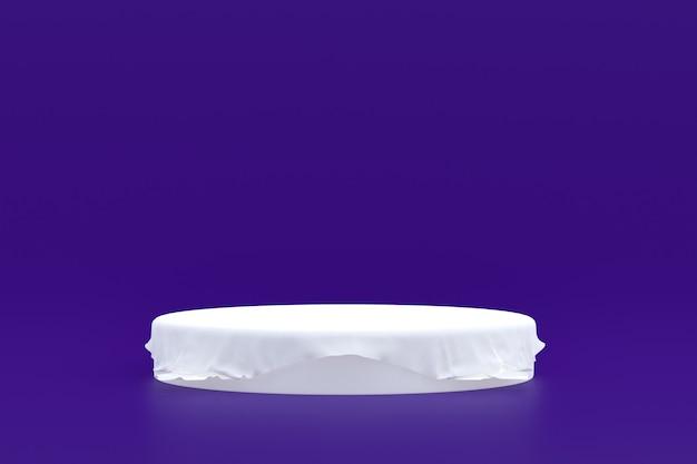 Stand prodotto, podio minimo su sfondo viola per la presentazione del prodotto cosmetico.