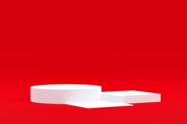 Stand del prodotto, podio minimo in rosso per la presentazione dei prodotti cosmetici.