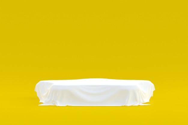 Stand prodotto, podio minimo su sfondo giallo per la presentazione del prodotto cosmetico.