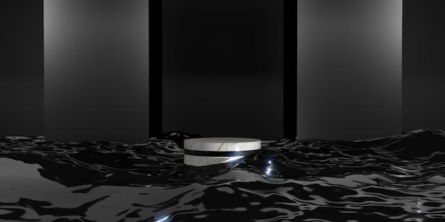 Product stand un display di prodotto sul riflesso dell'acqua elegante e moderno concept 3d