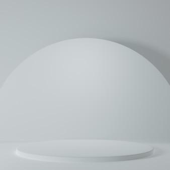 Stand del prodotto nella stanza bianca scena dello studio per il design minimale del prodottorendering 3d