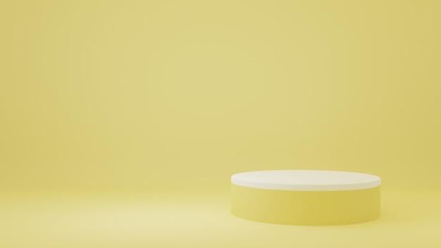 Stand del prodotto nella stanza gialla scena dello studio per il design minimale del prodottorendering 3d