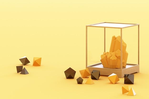 Prodotto di formazione minerale gialla, minerali, quarzo, gemme, diamanti. rendering 3d