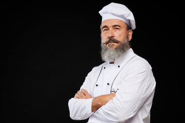 Chef professionista su nero