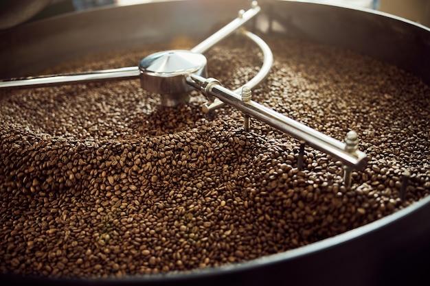Tostatrice professionale con chicchi di caffè arabica in vaschetta di raffreddamento in acciaio inox