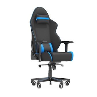 Poltrona da gioco professionale moderna per computer in nero e blu su sfondo bianco. rendering 3d
