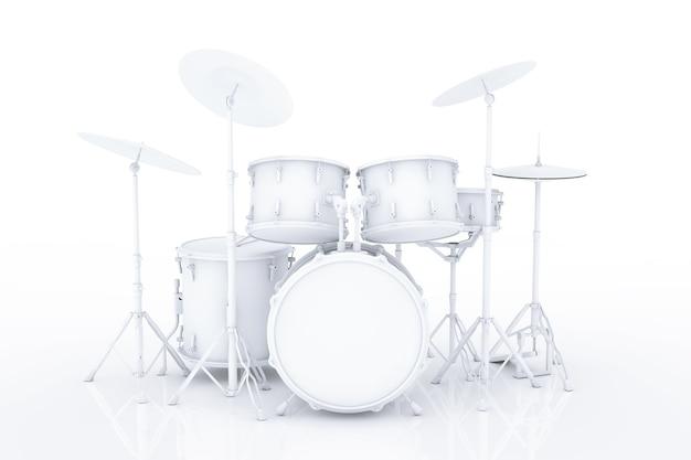 Batteria professionale rock in stile argilla su sfondo bianco. rendering 3d