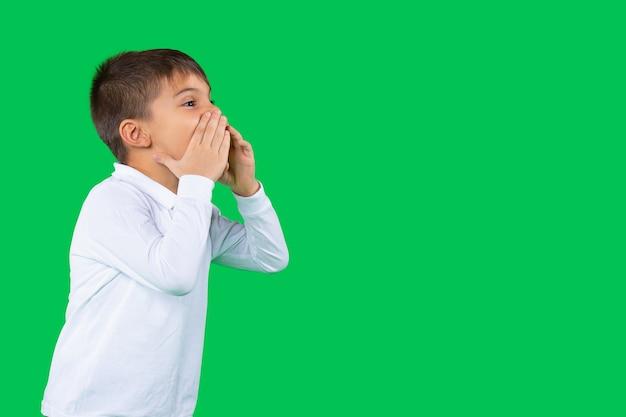 Ritratto di profilo del preschoolboy che tiene le sue mani vicino alla bocca che grida ad alta voce