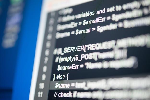 Codice del programma su un monitor