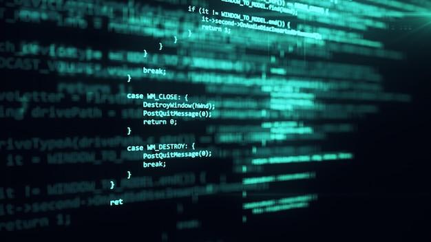 Il codice di programmazione funziona tramite l'illustrazione del terminale 3d dello schermo del computer