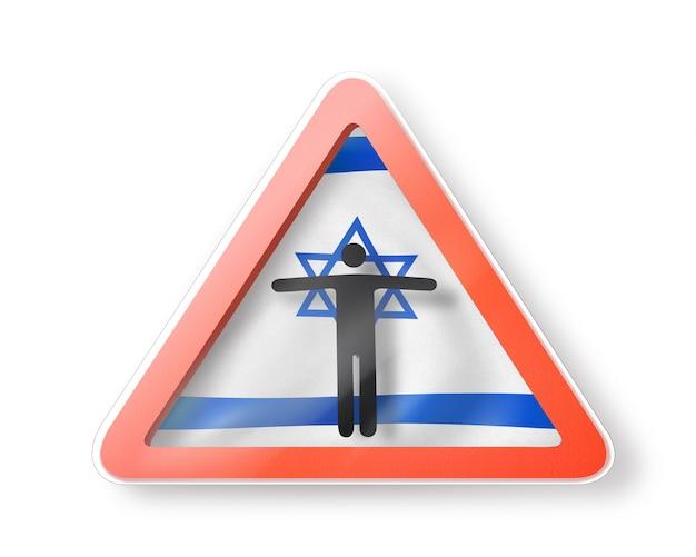 Segnale di divieto con la figura dell'uomo nero sulla bandiera israeliana su fondo bianco. restrizione all'ingresso in israele. concetto di quarantena. illustrazione 3d