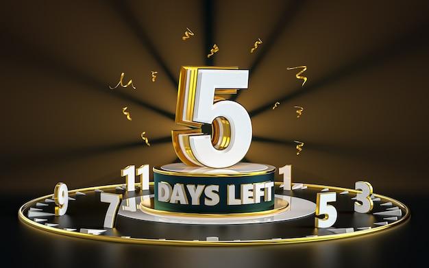 Numero promozionale di giorni rimasti segno simbolo design riflettori e sfondo oro rendering 3d