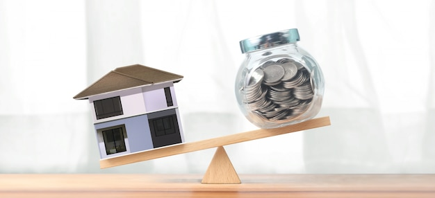 Concetto finanziario di ipoteca della casa e di investimento immobiliare