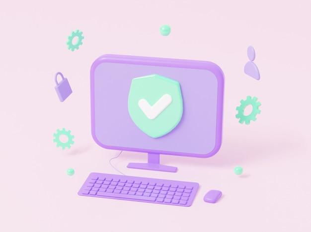 Protezione della sicurezza dei computer da virus dannosi con uno spazio vuoto per il testo