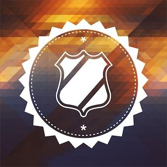 Concetto di protezione. design dell'etichetta retrò. hipster fatto di triangoli, effetto flusso di colore.
