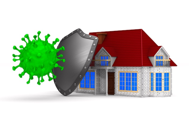 Casa di protezione contro i virus sul bianco.