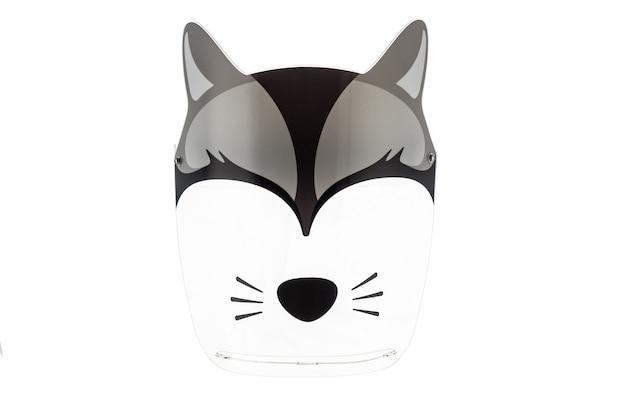 Maschera protettiva con disegni di animali dal virus per bambini. isolato