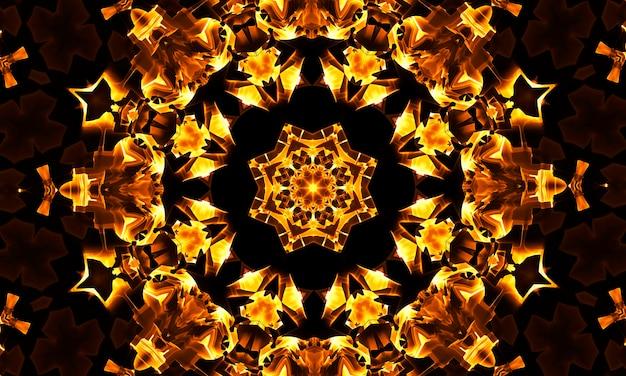 Corallo psichedelico e caleidoscopio viola con spirali gialle. illusione di espansione ottica