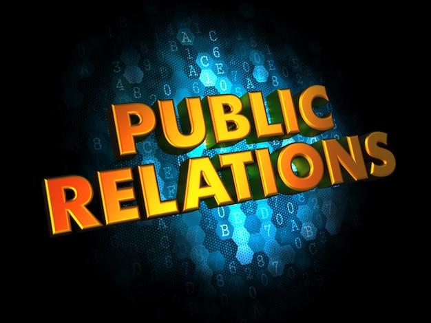 Concetto di pubbliche relazioni - testo di colore dorato su digitale blu scuro.