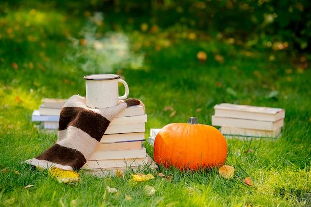 Zucca e libri con una tazza di caffè sono su un prato verde in un giardino