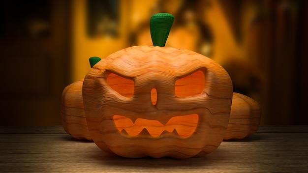 La presa della zucca per la rappresentazione 3d del concetto di festa di halloween
