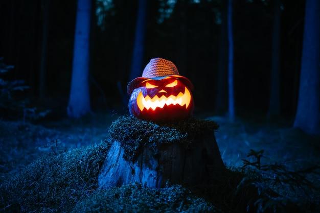 Lanterna di zucca che brucia nella foresta oscura sullo sfondo tradizionale del concetto di vacanza di halloween h...