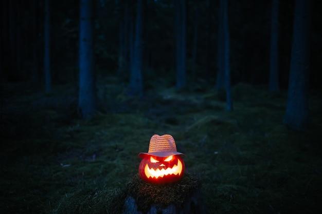 Lanterna di zucca per halloween in un cappello di vimini in una foresta cupa su un concetto di ceppo horror e celebra...