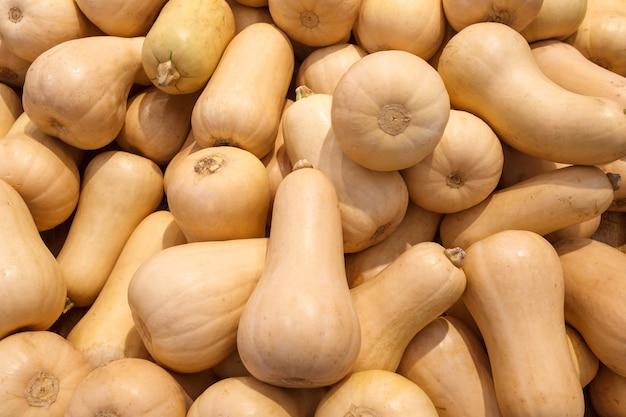 Zucca a forma di pera, crudo intero, molti accatastati alla rinfusa, nel mercato alimentare.
