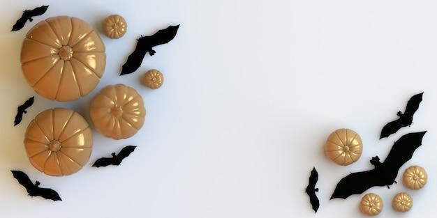 Zucche e pipistrelli su sfondo bianco banner piatto di halloween per annunci di feste o vendite commerciali
