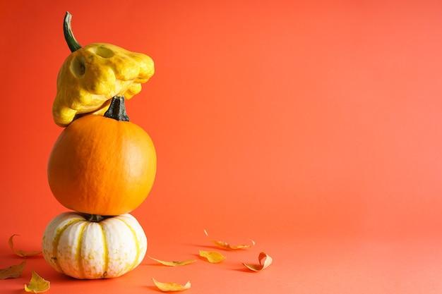 Zucche, foglie secche su sfondo arancione, spazio per il testo. concetto di halloween. composizione autunnale.