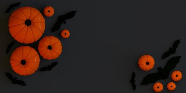 Zucche con pipistrelli su sfondo nero banner di halloween 3d illustrazione flat lay copia spazio