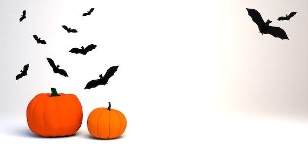 Zucche con pipistrelli. bandiera di halloween. illustrazione 3d.