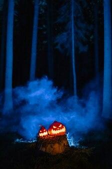 Zucche con facce spaventose intagliate illuminate all'interno in una foresta cupa nel concetto di fumo blu di halloween